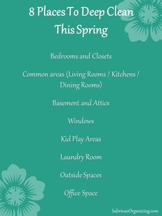 8 places to deep clean this spring - Are you getting ready to spring clean your home? We started cleaning and repairing things this weekend. Do you know the 8 main areas to deep clean? Visit this week's blog post. #cleanup #springcleaning #springcleaningtips #sabrinasorganizing #ontheblogtoday Deep Cleaning, Spring Cleaning, Cleaning Hacks, Less Is More, Kids Play Area, Home Management, Organize Your Life, Spring Home, Life Organization