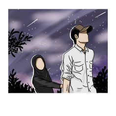 Clothing provides comfort, warmth and security as well as making one image good – this is how the relationship between the husband and wife is. Cute Couple Art, Anime Love Couple, Couple Cartoon, Girl Cartoon, Couples Musulmans, Cute Muslim Couples, Anime Couples, Muslim Couple Photography, Cute Kids Photography