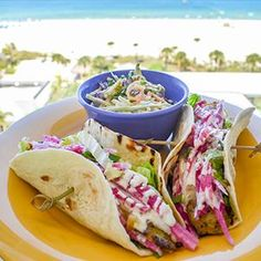 Make these Cilantro Lime Marinated Grouper Tacos by Rum Runners Bar & Grill. Grouper Recipes, Fish Recipes, Seafood Recipes, Grilled Grouper, Bar Grill, Cilantro, Healthy Eats, Rum, Entrees