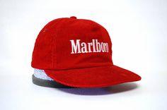 Corduroy Marlboro Hat Red Vintage Snapback by MODernThrowback