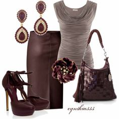 brown & taupe church outfit, leather skirt & fabulous heels & accessories.