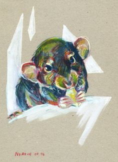 Watercolor pencils and paint markers on paperboard. #rat #art By Nuance (http://nuancescurieuses.tumblr.com/)