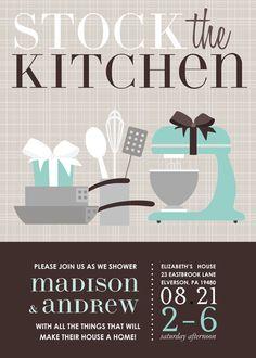 Stock the Kitchen Blue Bridal Shower Invitation