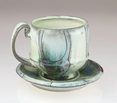 Contemporary handmade pottery cup and saucer by K. Olson Ceramics - Teacup Tea Cup Coffee Cup - Functional Pottery