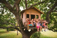 Diverse group of children smiling and waving in a treehouse Hot Tub Deck, Child Smile, Backyard Bbq, Summer Kids, Bird Houses, Children, Outdoor Decor, Treehouses, Diy Karton