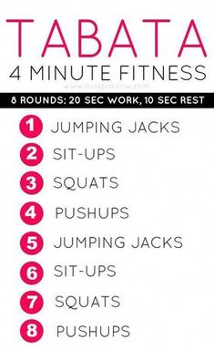 Do these 8 exercises for 20 seconds each and you got 4 minutes of tabata workout. - Do these 8 exercises for 20 seconds each and you got 4 minutes of tabata workout. Quick Weight Loss Tips, Weight Loss Help, Lose Weight In A Week, Weight Loss Diet Plan, Weight Loss Motivation, How To Lose Weight Fast, Lose Fat, Health Motivation, After Workout Smoothie