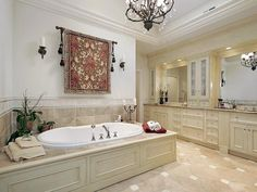 #/id-7385/room-bathrooms - recessed lighting and wooden built tub surrounding