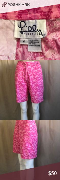 Lilly Pulitzer high wast flamingo vintage shorts Beautiful vintage flamingo wast shorts by Lilly Pulitzer. Light pink with flamingo printed on the shorts. Size 6 made in China 🇨🇳. 💯 percent cotton.11/28/17 Lilly Pulitzer Shorts