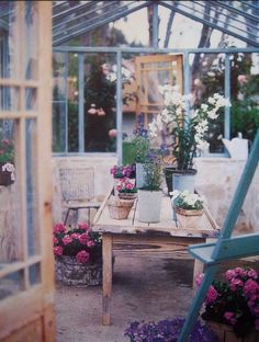greenhouse seating area - would be so lovely for rainy day chats.