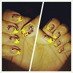 Lightening yellow french manicure w/ tangerine orange leopard print