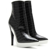 Stella McCartney Croco Embossed Faux Leather Platform Ankle Boots ($459) ❤ liked on Polyvore featuring shoes, boots, ankle booties, black, pointed toe ankle boots, black platform booties, platform booties, platform ankle boots and high heel ankle boots