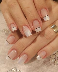 Wedding Nails-A Guide To The Perfect Manicure – NaiLovely Nail Designs Bling, French Nail Designs, Nail Art Designs, Cute Nails, Pretty Nails, My Nails, French Acrylic Nails, French Tip Nails, Elegant Nails