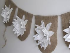 country wedding swag--burlap and tissue flowers...not for outdoors if humid or raining Burlap Projects, Burlap Crafts, Craft Projects, Diy Crafts, Burlap Bunting, Bunting Garland, Burlap Garland, Burlap Flowers, Fake Flowers