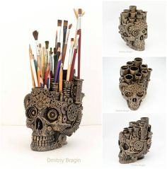 Skull Organiser by Dmitriy Bragin #steampunktendencies #steampunk #skull�