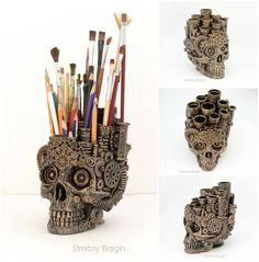 Skull Organiser by Dmitriy Bragin #steampunktendencies #steampunk #skull…