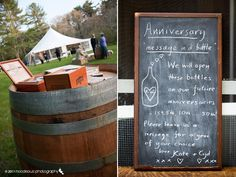 Leave an empty bottle with paper on each table. The guests will write you messages to open on different anniversaries. Could even coordinate anniversary with table number...