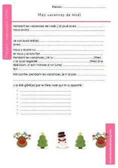 Expression écrite : retour de vacances de Noël