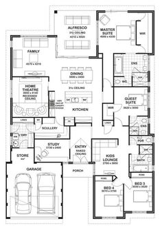 4 5 Bedroom House Plans Luxury Floor Plan Friday 4 Bedroom 3 Bathroom Home 4 Bedroom House Plans, Dream House Plans, House Floor Plans, Bungalow Floor Plans, Unique House Plans, Floor Plan 4 Bedroom, The Plan, How To Plan, Building Plans