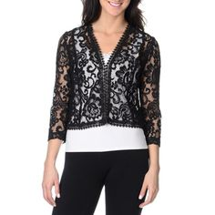 Tahari Arthur S. Levine Women's Lace Jacket | Overstock.com Shopping - Top Rated Evening & Formal Dresses