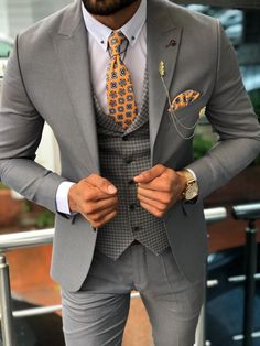 Austin Gray Patterned Slim-Fit Suit brabion - Men Suits - Ideas of Men Suits Costume Slim, Mode Costume, Grey Suit Men, Black Suits, Modern Suit Men, Gray Suits, Modern Groom, Mens Fashion Suits, Mens Suits