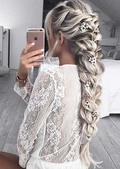 prom hairstyles for long hair, long ash blonde hair, with highlights, in and intricate braid, floral hair accessories homecoming hairstyles ▷ 1001 + ideas for beautiful hairstyles + DIY instructions Prom Hairstyles For Long Hair, Bride Hairstyles, Cute Hairstyles, Beautiful Hairstyles, Hairstyle Short, Long Braided Hairstyles, Natural Hairstyles, Perfect Hairstyle, Halloween Hairstyles
