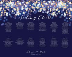 Wedding Seating Chart - Printable Gold and Blue Bokeh Seating Plan - Night Lights Guest Seating Chart Template, Under the Stars Table Plan Printable Wedding Invitations, Digital Invitations, Wedding Wishes, Wedding Signs, Digital Menu, Starry Night Sky, Reception Card, Envelope Liners, Under The Stars