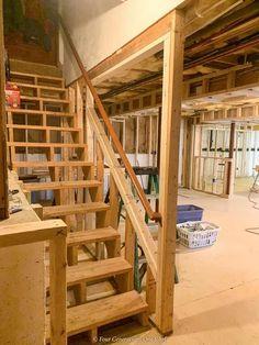 Framing Basement Walls, Open Basement Stairs, Basement Steps, Basement House Plans, Open Staircase, Staircase Ideas, Kids Basement, Rustic Basement, Walkout Basement