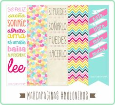 Lovely Charlotte - Marcapáginas imprimibles gratis Diy Stickers, Planner Stickers, Printable Stickers, Planners, Diy Bookmarks, Printable Bookmarks, Diy And Crafts, Paper Crafts, Papel Scrapbook