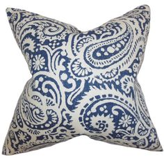 Add a pop of pattern to your sofa or favorite arm chair with this linen pillow, showcasing a paisley print.Product: Pillow