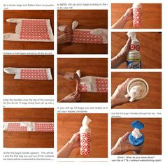 How to roll plastic bags.  From: http://tatertotsandjello.com/2011/07/summer-social-guest-project-make_21.html