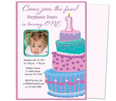 Sweet Cakes 1st Birthday Invitation Templates. Great template for a first party invite. Easy to edit with Word, Publisher, Apple iWork Pages, OpenOfifce. Insert your special photo and print!