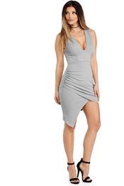 Gray Ruche Aside Wrap Dress