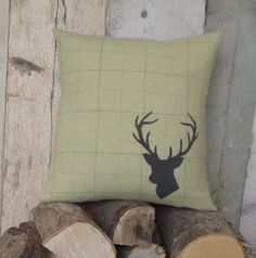 hand printed irish tweed stag's head cushion by rustic country crafts | notonthehighstreet.com