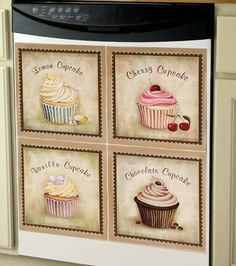 Cupcake Decor For Kitchen Wall - Bing Images Dishwasher Cover, Dishwasher Magnet, Cherry Cupcakes, Vanilla Cupcakes, Appliance Covers, Kitchen Decor Themes, Home Decor, Table Linens, The Ordinary