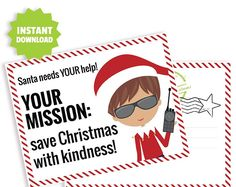Christmas acts of kindness ideas, acts of kindness christmas ideas, Elf Mission Kindness Postcard, Kids Kindness Challenge, A Printable Elf File.