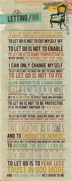 letting go. (found at http://dailypins.net )