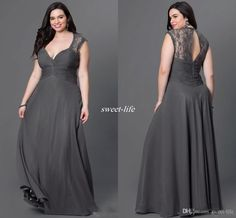 Gray Chiffon Plus Size Bridesmaid Dresses 2016 Sexy Open Back V Neck Lace Cap Sleeves Long Cheap Formal Occasion…