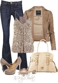 Play down a sparkly top with a tan jacket. I like the contrasting textures, too.