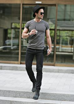 STRUNWAY MENS CASUAL SKINNY FIT BLACK JEANS #strunway | Raddest Looks On The Internet: http://www.raddestlooks.net