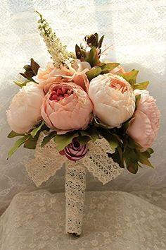 Sisjuly Artificial Peony Silk Flowers Bouquet Home Wedding Decoration (Champagne) #weddingflowers