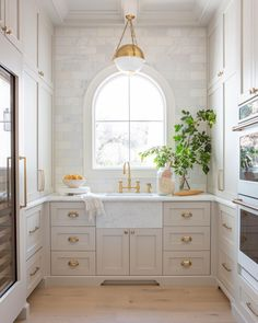 Arched window over kitchen sink with grey cabinets and gold hardware.