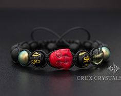 Father's Day Gift Shamballa Bracelet Green Bamboo by CruxCrystals