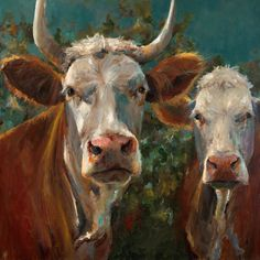 Cow Painting - Friends - giclee print of an original painting on fine art paper by Cari Humphry Cow Photos, Arte Country, Cow Painting, Farm Art, Cow Art, Western Art, Animal Paintings, Fine Art Paper, Painting Inspiration