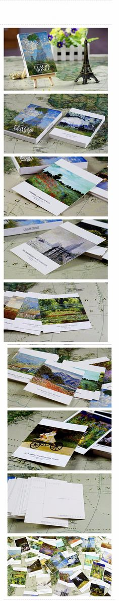 """Claude Monet (30pieces/lot. """"Artist oil painting series"""" Vintage Style DIY Postcard Love Greeting Card Birthday Gift Card Set Message Card)"""