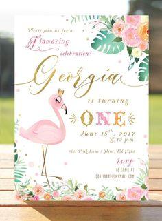 e3568034b0 Flamingo Birthday Invitation - Flamingo Invitation - Pink Flamingo - Gold  Foil - Printable DIY digit. Flamant Rose ...
