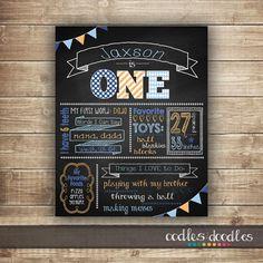 1st Birthday Chalkboard Poster / Boy's First Birthday / by OandD