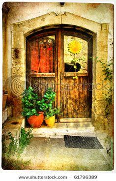 pictorial greek villages doors-