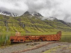 In Fjord Mjóifjörður in the East Fjords of Icelands, there's another of those shipwrecks gradually rusting away…