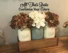 Rustic Farmhouse Centerpiece, Rustic Home Decor, Farmhouse Decor, Home Decor, Mason Jar Centerpiece, Mason Jar Decor, Mason Jar, Centerpiece