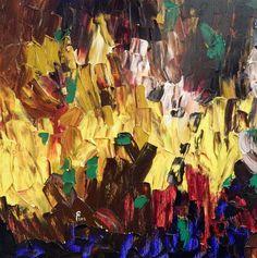 """Saatchi Online Artist Paul Costin; Painting, """"Flames"""" #art August 2012, 40×40 cm, oil on canvas, palette knife technique"""
